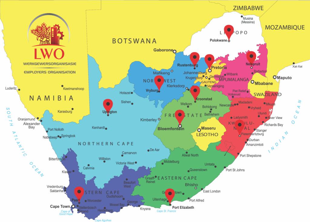LWO Werkgewersorganisasie arbeidsreg bedieningspunte (dienste sal gelewer word vanaf die naaste bedieningspunt)